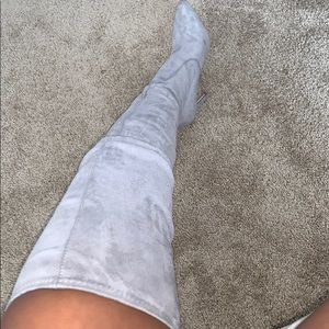 Grey Suede Over The Knee Boot